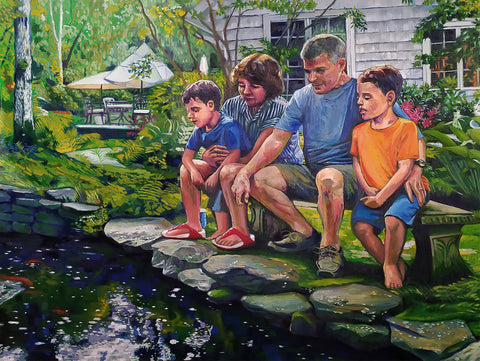 Painting of a family of four sitting on a bench gazing into a pond