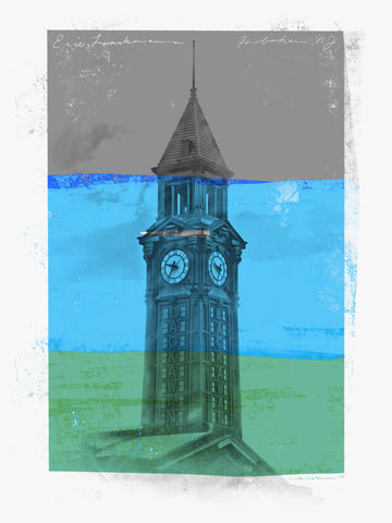 Black and white photo of Hoboken Clock Tower with three distressed horizontal stripes of gray, blue, and green