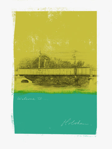 Black and white tracing of the Hoboken Train Bridge overpass with two distressed horizontal stripes of yellow above green