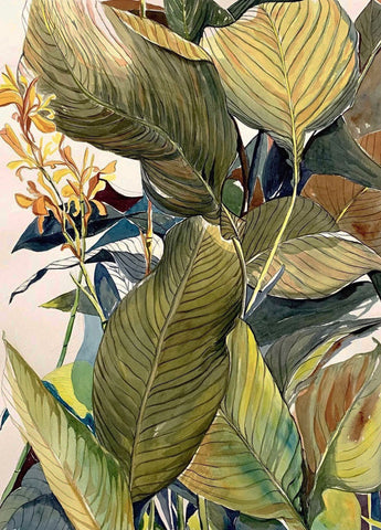 Watercolor painting of a close-up of leaves from a plant