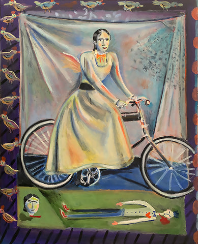 Painting of a woman on a bicycle in front of a curtain held by birds over a head and body laying down in the foreground