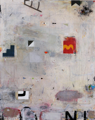 Abstract painting of mostly painterly gray background with small squares and other odd shapes of color