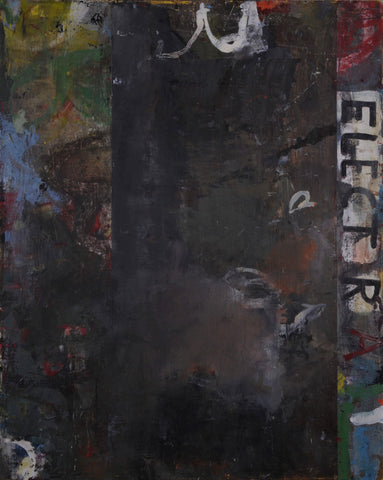 "Dark painterly abstract painting with the word ""ELECTRA"" written down the right side"
