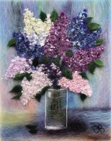 Wool painting of purple and white lilacs in a glass vase