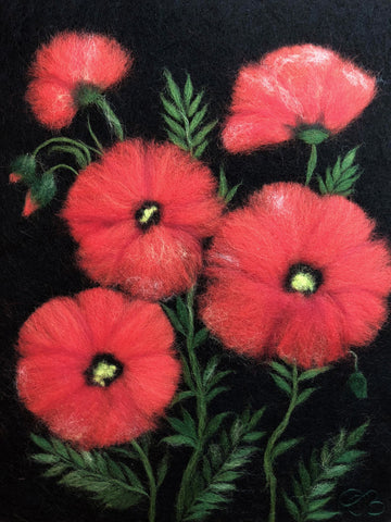 Wool painting of multiple red poppies on dark background