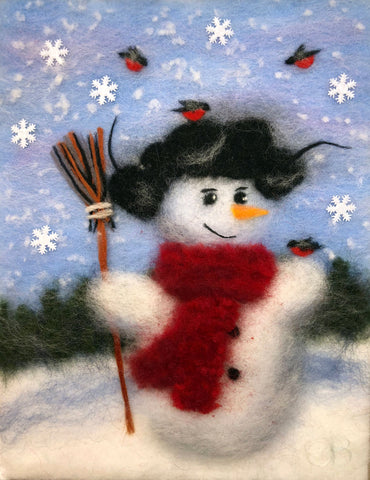 Wool painting of snowman with red scarf