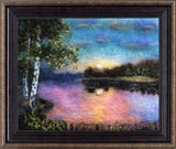 Wool painting of a sun setting over a lake with two birch trees in the foreground in mahogany and gold frame