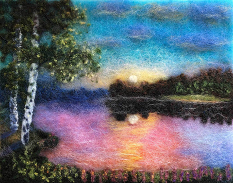 Wool painting of a vivid sun setting over a lake with two birch trees in the foreground