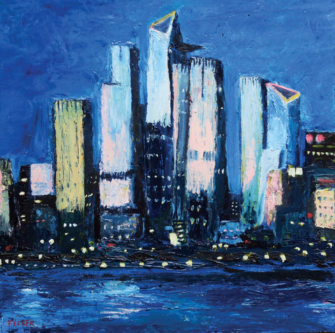 Painterly night scene of the hudson yards in NYC from across the river with strong dark blues