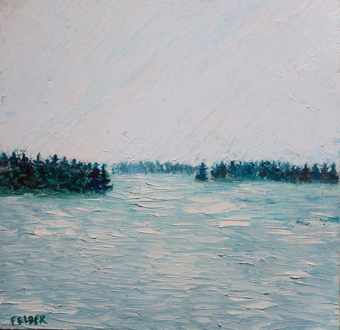 Serene painting of a gray misty scene of water with bits of tree lined land on the horizon