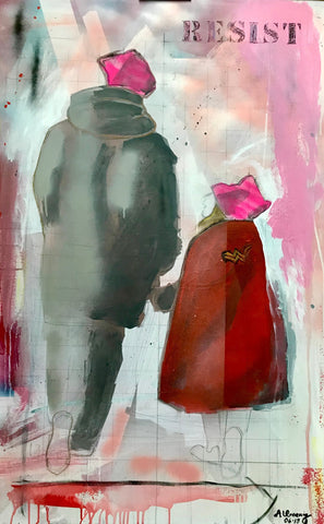 Painting with an adult and child with their backs toward the viewer...girl has a red wonder woman emblemed coat, both in pink hats...broad strokes of pink