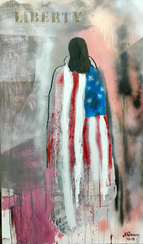 Painting of figure with back to viewer draped in american flag with Liberty written above