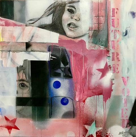 "Abstract painting with girl's face and spray paint in mostly reds and some blues with ""FUTURE VOTER"" stenciled down the right side"
