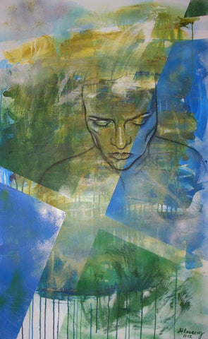 Contour painting of the artist's portrait over green and blue brush strokes loosely applied with dripping