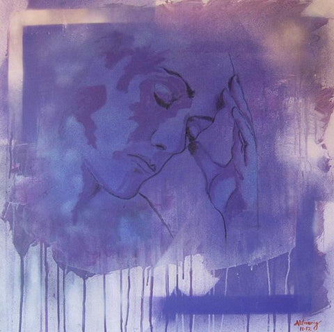 Spray painted painting with contour painting of the artist's portrait with her hand to her head on mostly purple colors