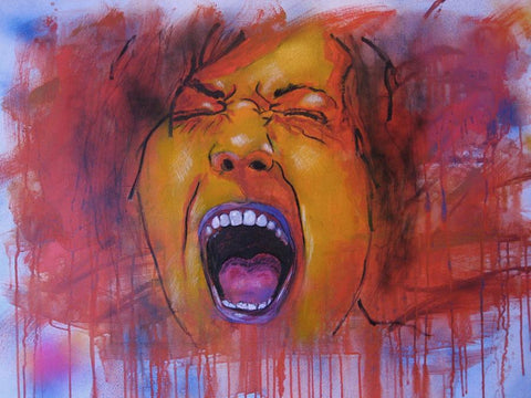 Self portrait of a close-up of the artist's face screaming in bright warm tones of yellow, orange, and magenta with drippings