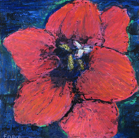Painterly drawing of a close-up of a red flower on blue background