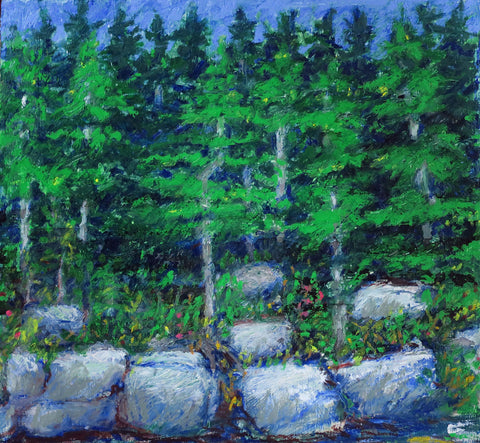 Painterly drawing of green evergreens over gray rocks near water's edge