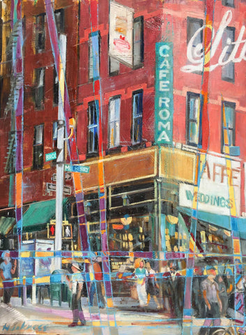 Colorfully and painterly this painting is of a street corner in NYC with cafe shop and red brick building with people buzzing around on the sidewalk