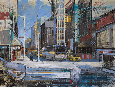 Painterly and colorful image of an intersection in Manhattan with a bus and vehicles on a sunny day
