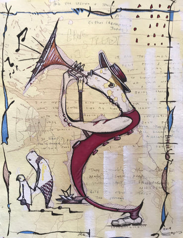 Humanoid creature playing a trumpet in red outfit to two bystanders on background with written lyrics and hand-drawn border and washes of yellow