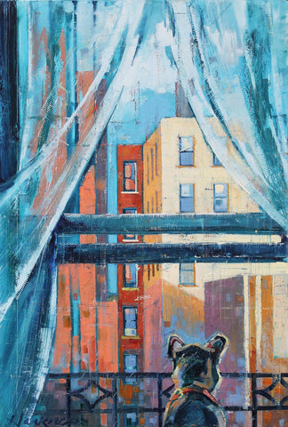 Colorful painting with reds and light blues of the back of the upper torso of a dog looking out of an open window with views of city buildings with a cool transparent curtain bending to the breeze