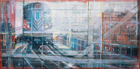 Cool and colorful painting of the front of an above ground subway car with strong vertical and horizontal brush strokes