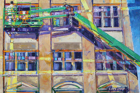 Colorful painting of a window worker suspended by a green crane with a close-up of a yellow sunshine striped building with the deep blue sky reflected in the windows