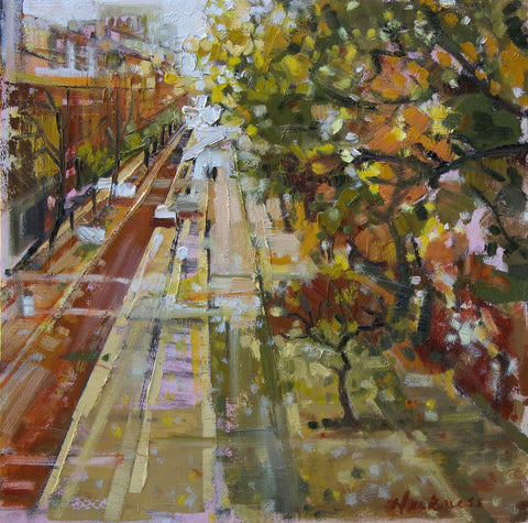Painterly autumn colored painting looking south on 5th Avenue in NYC with trees from Central Park on the right