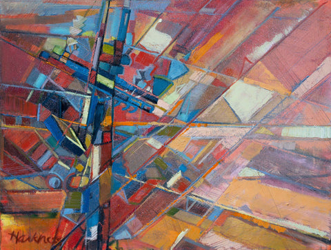 Colorful multi-colored painting of power lines making up an abstract array of geometric shapes of color mostly of reds, oranges, and blues