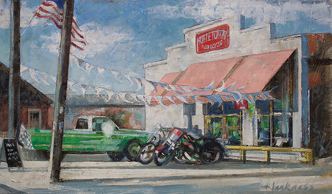 Painting of a green pickup truck and two cruiser motorcycles parked outside a white shop building with red sign with flag streamers, and American flag, checkered flag near sandwich board