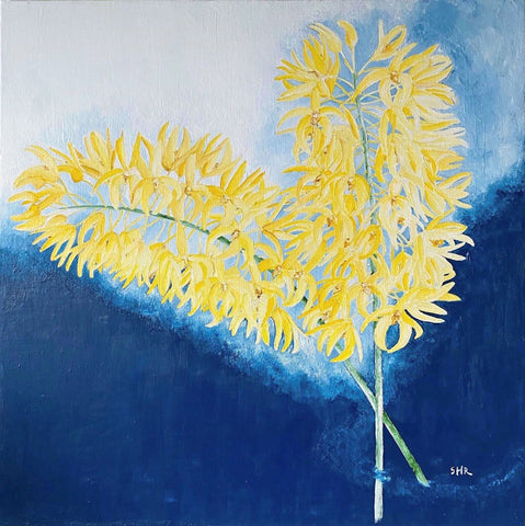 Painting of two stems of yellow flowers on a blue background