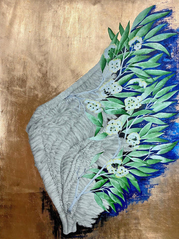 Detailed pencil drawing flows into painting of white flowers with green leaves and some blue background all on a copper background