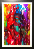 Bright blotchy colors seemingly dripping downward in a balanced abstract painting with a bit of white paper poking through framed in black frame with white matte