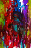 Bright blotchy colors seemingly dripping downward in a balanced abstract painting with a bit of white paper poking through