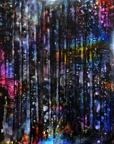 Vivid spots of color on dark vertical streaks like an abstract starry night curtain