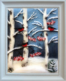 "Wool fibers form a winter scene with three red birds on birch tree branches with red leaves in snow covered forest under a blue sky background, signed in lower left corner ""OB"", unmatted in a white frame"