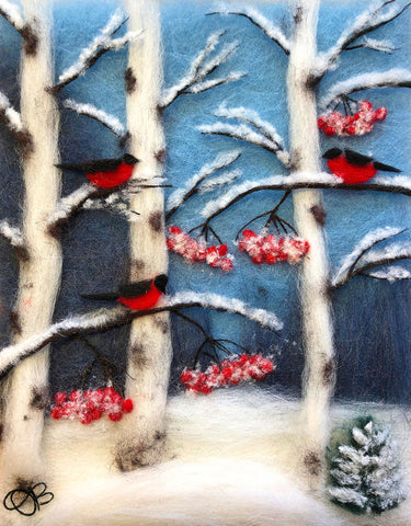 "Wool fibers form a winter scene with three red birds on birch tree branches with red leaves in snow covered forest under a blue sky background, signed in lower left corner ""OB"""