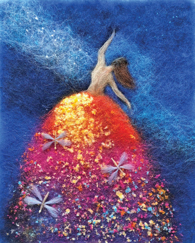 Fibers make up a female figure, back turned with arms out with brown hair and vividly colored gown of reds, yellows, and purples with three dragonflies within dancing in the glow of a deep blue night sky