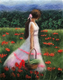 Fibers make up a woman with long brown hair with white ribbon holding it back, tan skin, and flowing white dress with red fringes holding a basket as she walks in a field of red poppies