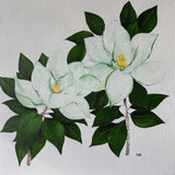 Painting of two cut white flowers with green leaves and yellow hymen on white background