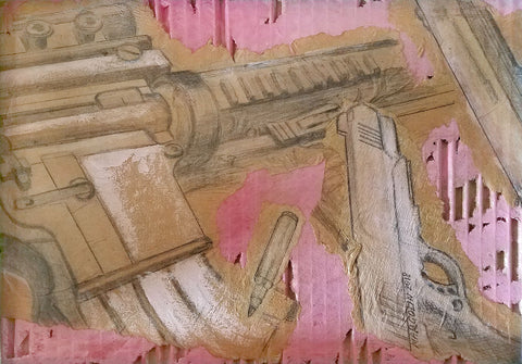 Drawing of guns with pink and white paint on corrugated cardboard