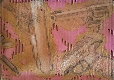 Drawing of guns with pink and gold paint on corrugated cardboard