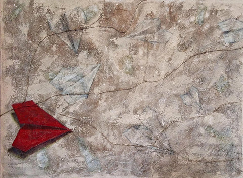 Painting of a dominant red paper airplane on muted beige background with ghosted images of paper airplanes with thread laid out like rivers and sand for texture