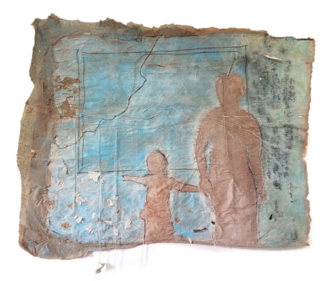 Silhouette of an adult and child pointing to the horizon on a roughly edged brown paper slightly painted and with threads and yarn attached with rough paper ribbons