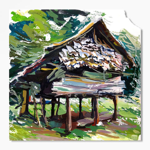 Painterly and colorful depiction of a small wood jungle house with warm greens on white tile with purposely chipped upper left corner