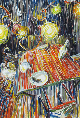 Multicolored painterly scene of table with three plates and bottle with festive lights shone at night
