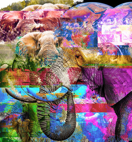Digital photographic composite of elephants and earth in bright rainbow colors