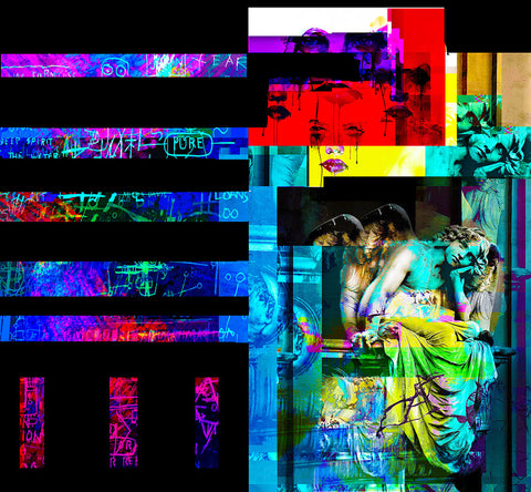 Digital images in bars and boxes on black background with images of grafitti and angel statue in colors of the rainbow