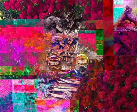 Red roses, birds, human bones with two skulls, and rings make up this colorful digital photographic composite of boxed images in all colors of the rainbow